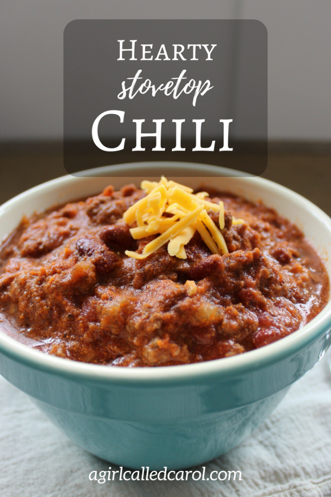 Hearty Stovetop Chili - www.agirlcalledcarol.com